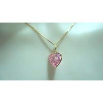 Corrente De Ouro 18k Pingente Coração Rosa Brilhante 6 Mm