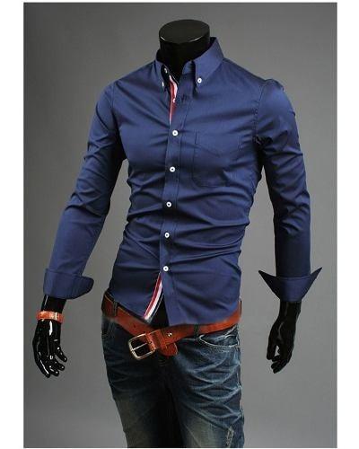 a2f581a1a Camisa Masculina Botão Manga Longa Slim Fit Casual - R  69