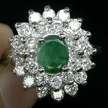 Esmeralda Africana E Zircônia-anel Em Prata 925 Rodinad