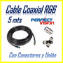 Cable Coaxial Rg6 Directv Inter Supercable Conectores+ Unión