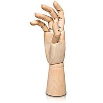 Mão De Madeira Articulada - Manequim De Mão 29cm