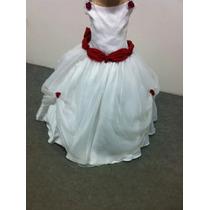 Vestido Dama/princesa/formatura Branco E Vermelho Voal