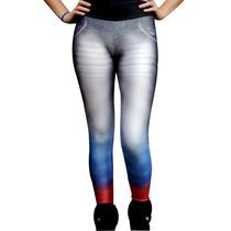 Calça Legging Leg Jeans Fusô Degradê Academia Fitness