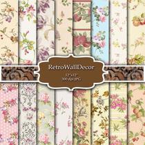 Láminas Vintage Floral Decoupage Scrapbook Kit Para Imprimir