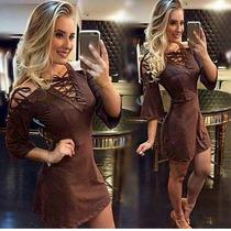 Vestido Feminino Curto Em Tecido Suede Decotado Caramelo