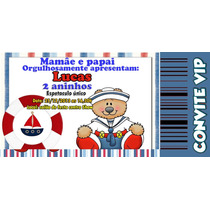 20 Convite Personalizado Ingresso Ursinho Marinheiro