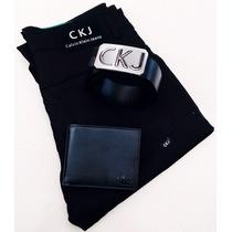 Kit Calça Calvin-klein-cinto-carteira-sarja-skinny Moda Masc