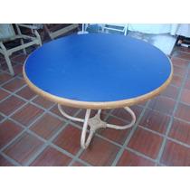 Mesa De Madeira E Ferro,redonda,5 Cadeiras.atenção