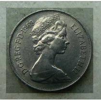Moeda Inglaterra 5 Pence Elizabeth Ll Níquel 1969