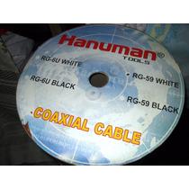 Cable Coaxial Rg-59 Color Blanco. Rollo 205 Metros