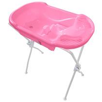 Banheira Ergonômica Com Suporte Rosa - Tutti Baby