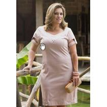 Vestido Evangélico Plus Size Em Cotton Satin C/ Forro Kauly