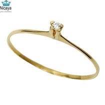 Nicaya Anel Solitário Diamante 5 Pontos Ouro 18k-750