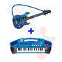 Kit 2 Instrumentos Musicais Hot Wheels Teclado +guitarra Fun