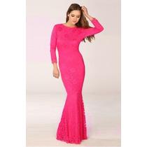 Vestido M Modelo Importado Longo Decote Sensual Renda Pink
