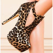 Bota Botineta Leopardo Animalprint Taco Plataforma Importada