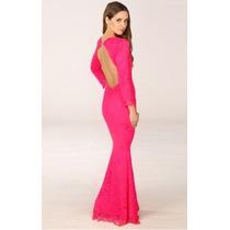 Vestido Pp Modelo Importado Longo Decote Sensual Renda Pink