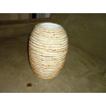 Vaso Decorativo Em Ceramica E Cordas