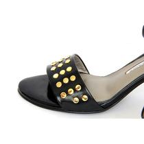 Zapatos De Cuero Negros Milano Bags Con Tachas Doradas