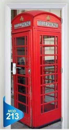bf3d3e4b1 Adesivo 123 Porta Decorativa Cabine Telefone Londres - R  69