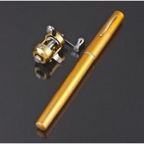 Mini Caña De Pescar Telescopica Portatil Tipo Pluma Dorada