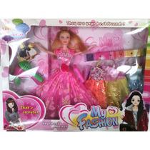Muñeca Con Vestidos Y Accesorios