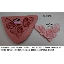 Molde Forma Silicone Biscuit Gesso Arabesco Com Rosas