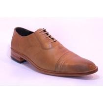 Zapatos De Vestir De Cuero Ingles Con Puntera Suela Negro