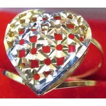 Anel Ouro 18k Amarelo Vermelho Branco Coração Vazado Christi