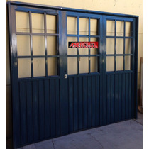Porton Garage Chapa Simple Reforzado Postigo Abrir 240x200