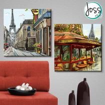 Cuadros Decorativos 2 Pz 40x40 Cafe En Paris