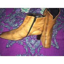 Bellos Botines De Cuero Café Botas Zapato Calzado Top