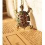 Colar Vintage Bronze Comprido Tartaruga Com Pedras Coloridas