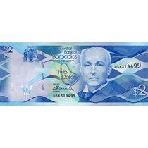 Grr-billete De Islas Barbados 2 Dollars 2013