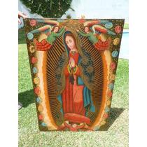 Pintura Óleo Sobre Lienzo Virgen De Guadalupe Con Querubines