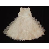 Vestido Infantil Festa Batizado Florista Off White Ou Rosa