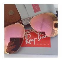 Oculos Rayban Aviador Original Rosê Espelhado Feminino Masc