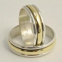 Alianzas De Compromiso Plata 925 Oro 18k Giratorias El Par