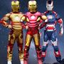Novo!!!fantasia Homem De Ferro Infantil Luxo Músculos P M G