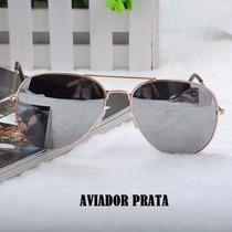 Óculos De Sol Aviador Prata Espelhado Unissex-pronta Entrega