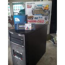 Cpu 1155 Tarjeta Madre Gigabyte H61m-ds2 Ram 3gb Ddr3 Dd 250