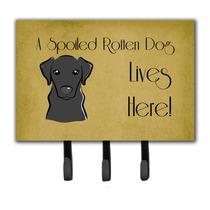 Labrador Negro Perro Estropeado Vive Aquí Correa O Titular