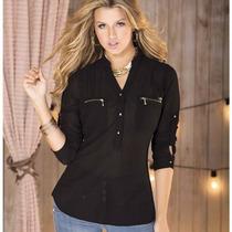 Blusas Elegantes En Chifon Transparente Y Etres Talla S,m,l