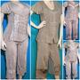 Conjunto Mujer Bordado Blusa + Pantalon Capri En Rayon