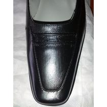 Zapatos De Vestir Piel Negro Talla 37 Dama Tacon Bajo Nuevo