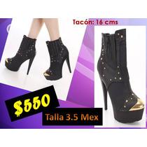Zapatos Tacon Plataforma Militar Fiesta Bella Hermosa Bota