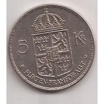 Suecia Moneda De 5 Kronor Año 1972 !!
