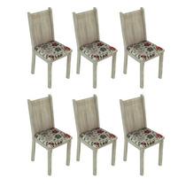 Conjunto 6 Cadeiras Lucy Madesa Acácia/ Floral Hibiscos