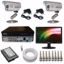 Kit Completo Para Instalação 2 Câmeras Infra Dvr E Monitor