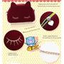 Bolsa Em Camurça Love Cat Vermelha De Corrente Dourada Gato